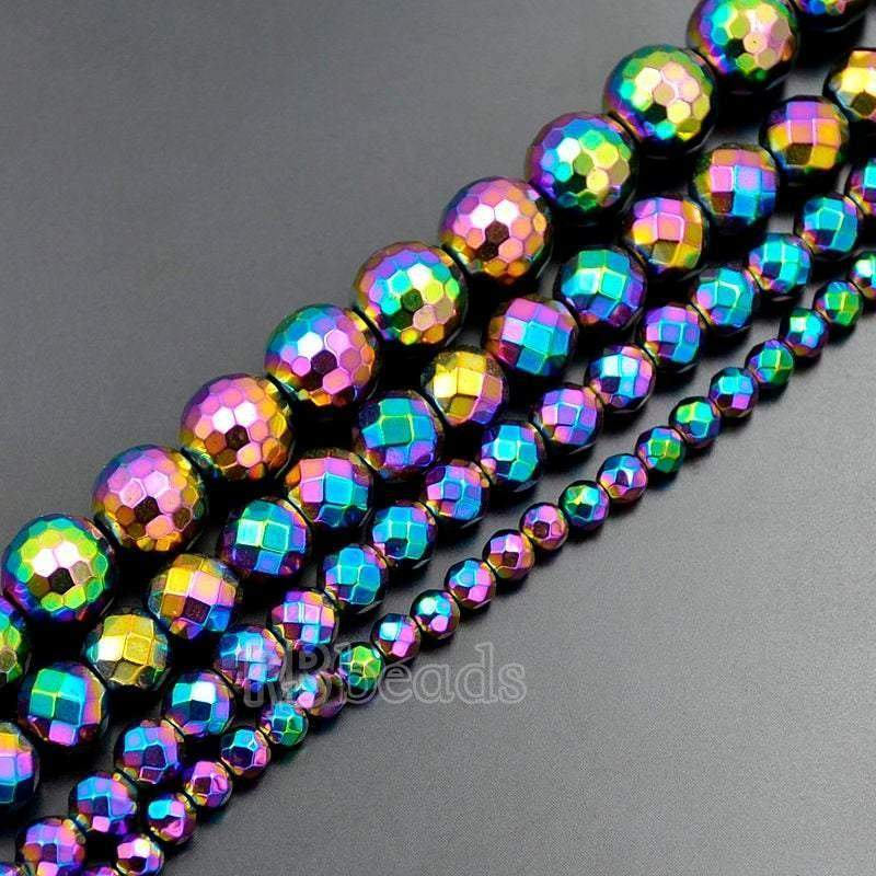 Natural faceted Multi Color Hematite Beads, 4mm 6mm 8mm 10mm Round Hematite beads, Spacer Multi Color Hematite Gemstone beads, Jewelry beads - RainbowShop for Craft