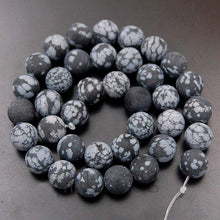 Load image into Gallery viewer, Natural Matte Frosted SnowFlake obsidian Jasper Beads, Gem 4mm 6mm 8mm 10mm 12mm Stone Round Jewelry Gemstone Beads, For Jewelry making - RainbowShop for Craft