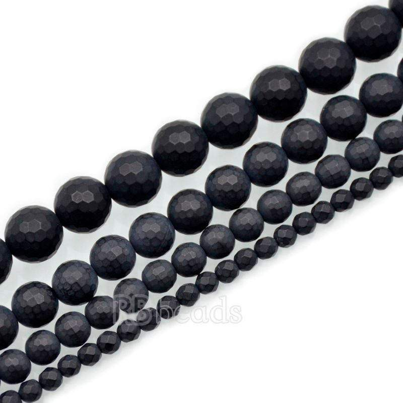 Natural Faceted Matte black Onyx Beads, Onix Gem 4mm 6mm 8mm 10mm Stone Round Jewelry Gemstone Beads, For Jewelry making and Beading - RainbowShop for Craft