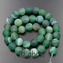 Load image into Gallery viewer, Natural Frosted stripe Agate beads Green Agate beads, Matte Gemstone Beads, 6mm 8mm 10mm 12mm beads, Round Natural Beads, 15''5 strend - RainbowShop for Craft