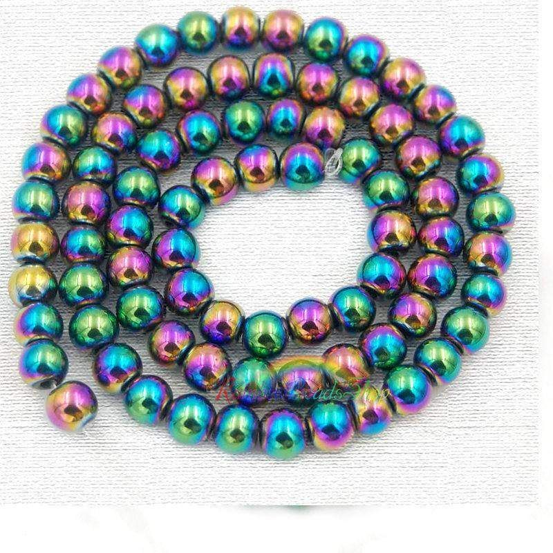 Natural Multi Color Hematite Beads, 2mm 3mm 4mm 6mm 8mm 10mm Round Hematite beads, Spacer Multi Color Hematite Gemstone beads, Jewelry beads - RainbowShop for Craft