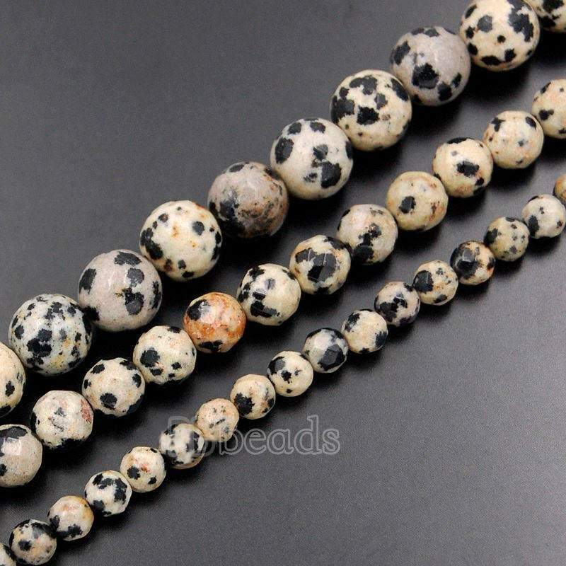 Natural Faceted obsidian Dalmatian Jasper Beads, Gem 4mm 6mm 8mm 10mm Stone Round Jewelry Gemstone Beads, For Jewelry making and Beading - RainbowShop for Craft