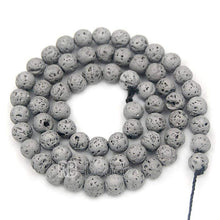 Load image into Gallery viewer, Natural Silver Volcanic Lava Beads Titanium Coated, 4-12mm Round Jewelry Gemstone, 15.5'' strand