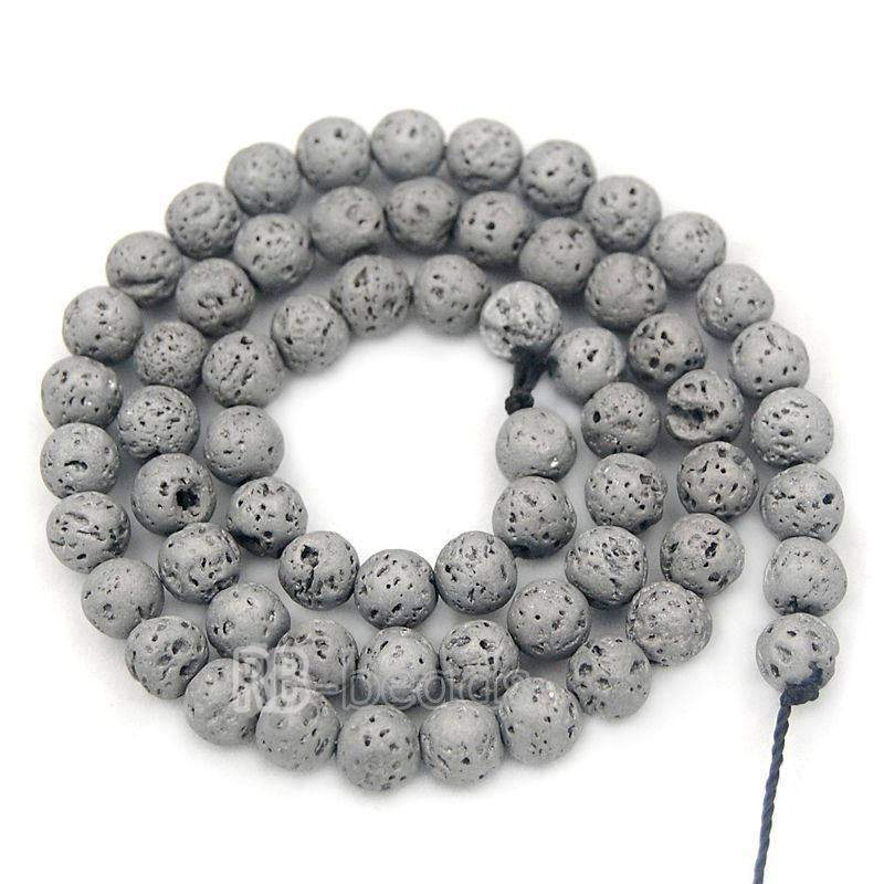 Natural Silver Volcanic Lava Beads Titanium Coated, 4mm 6mm 8mm 10mm 12mm Stone Round Jewelry Gemstone Beads, For Jewelry making and Beading - RainbowShop for Craft
