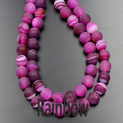 Natural Matte Frosted Magenta Pink stripe Agate Beads, Gem 6mm 8mm 10mm 12mm Stone Round Jewelry Gemstone Beads For Jewelry making - RainbowShop for Craft