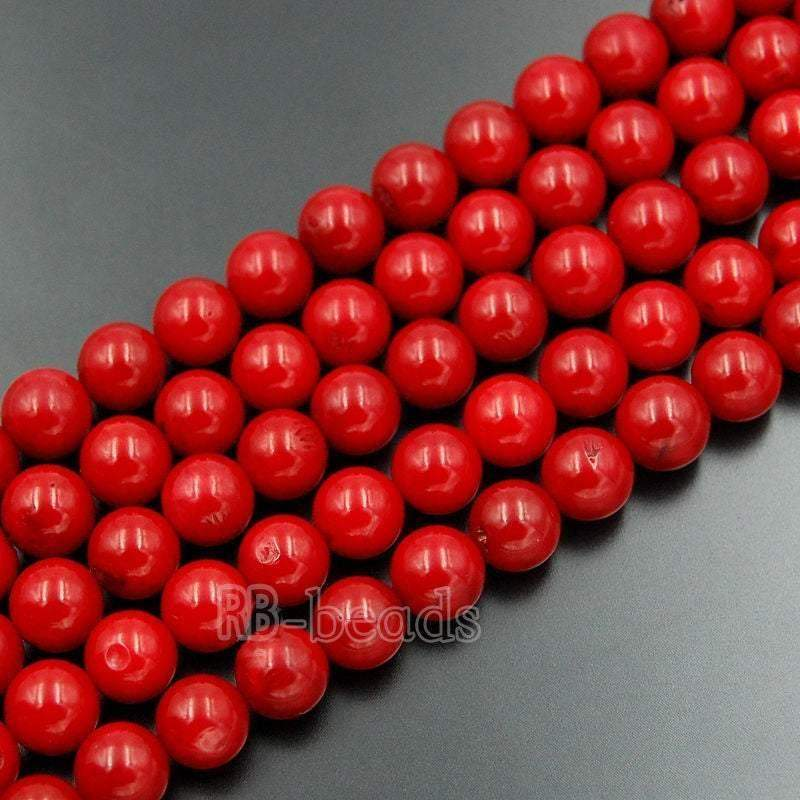 Red Coral Beads, Red Beads, Gemstone Beads, Round Natural Beads, Jasper Beads, Full Strand,  4mm 6mm 8mm 10mm 12mm - RainbowShop for Craft