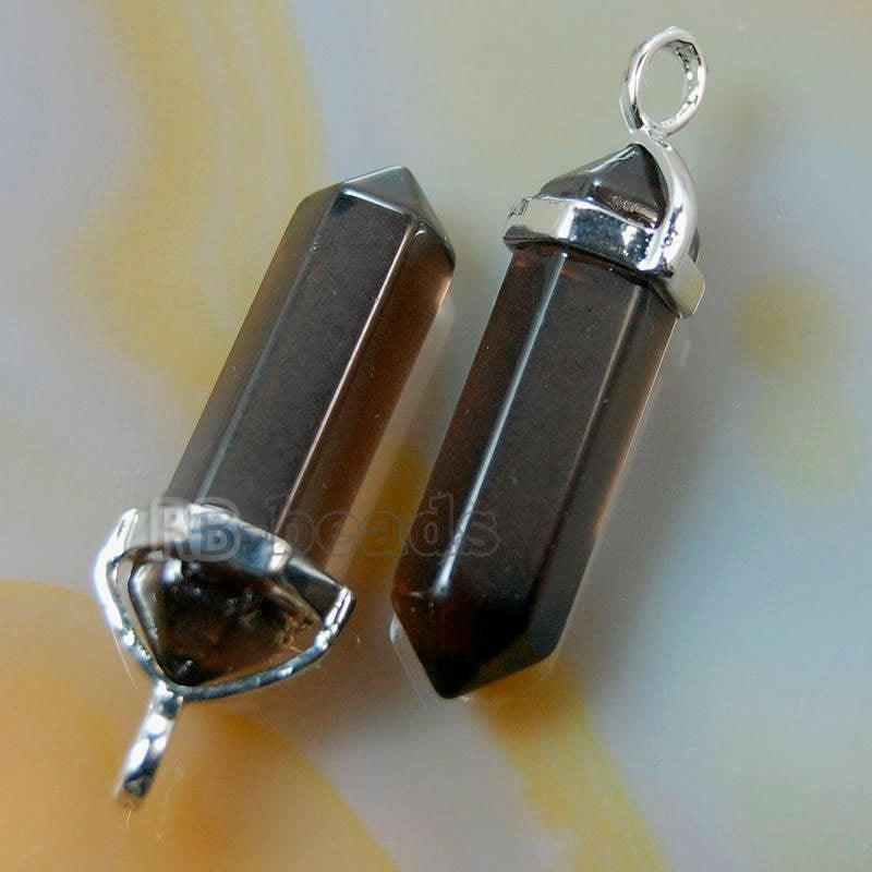 Synthetize Smoky Quartz double Terminated, Reiki Point Pendant beads, Gemstone, Crystal healing, Chakra Stone bead, Rock chakra pendant