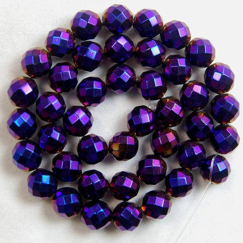 Faceted Gemstone Purple Hematite loose Beads, Round 3mm 4mm 6mm 8mm 10mm Hematite beads, Spacer Faceted beads, Jewelry beads, Stone beads - RainbowShop for Craft