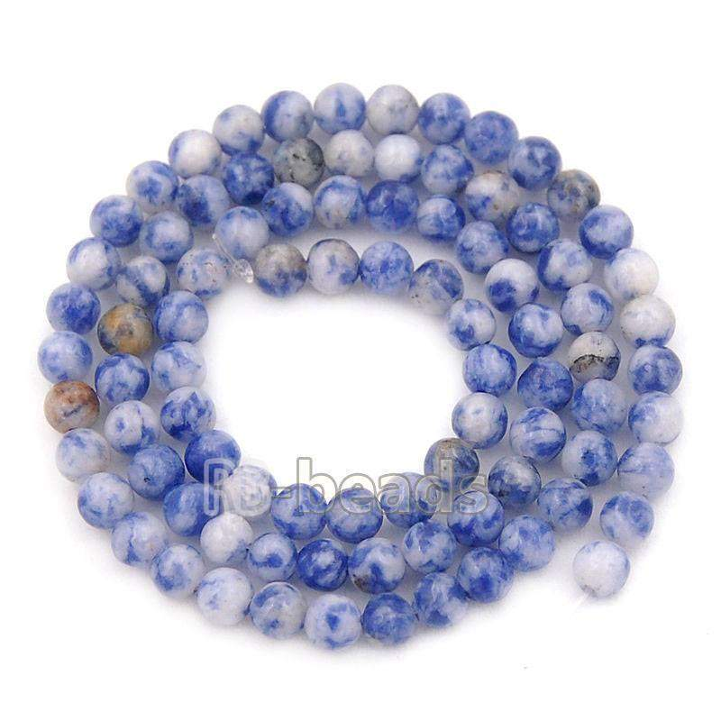 Smooth Blue Spot Jasper beads, 2mm 3mm 4mm 6mm 8mm 10mm Gemstone Jewelry Beads, Round Natural Stone Beads, Loose beads 15''5 - RainbowShop for Craft