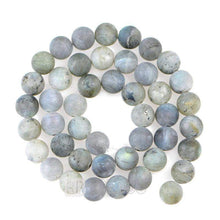 Load image into Gallery viewer, Natural Matte Frosted Labradorite Blue Rainbow Flesh Beads, Dark Moonstone Gemstone Beads, 4mm 6mm 8mm 10mm 12mm Stone Jewelry Round Beads - RainbowShop for Craft