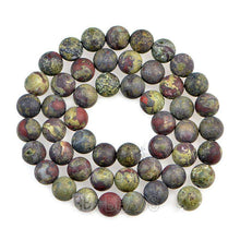 Load image into Gallery viewer, Natural Matte Frosted Dragon Bloodstone Beads, 4mm 6mm 8mm 10mm 12mm Round Gemstone Beads, Semiprecious Stone Jewelry Beads, 15.5'' Strand - RainbowShop for Craft