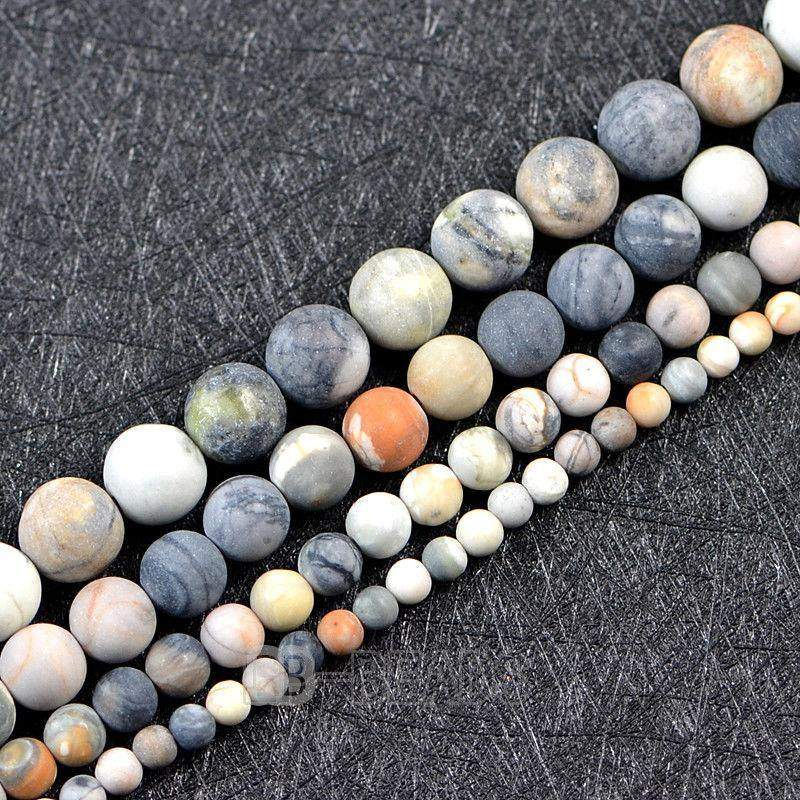 Matte Frosted Dark Picasso Jasper beads, 4mm 6mm 8mm 10mm 12mm Gemstone Beads, Round Natural Stone Jewelry Beads, 15.5 Strand, beading - RainbowShop for Craft