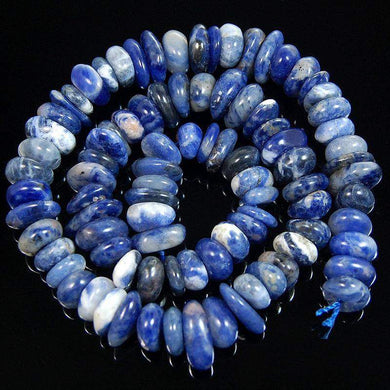 gem semiprecious Natural Blue Sodalite Freeform Rondelle Disk Beads, Spacer Stone beads,  Jewelry beads 3-5x8-13mm, 15'' strand - RainbowShop for Craft