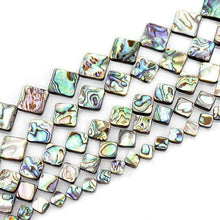 "Load image into Gallery viewer, Natural Abalone Paua Shell Square beads, Gemstone Loose Beads, 8mm 10mm 12mm 14mm 16 rhombus diagonal hole Beads Semiprecious Beads 7.5"" str - RainbowShop for Craft"