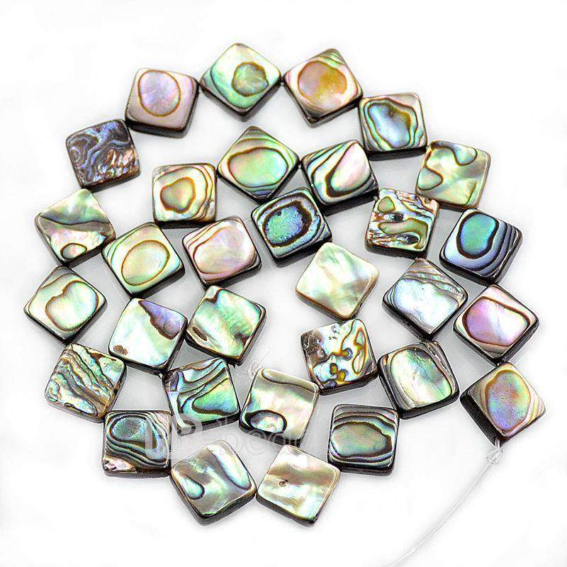 Natural Abalone Paua Shell Square beads, Gemstone Loose Beads, 8mm 10mm 12mm 14mm 16 rhombus diagonal hole Beads Semiprecious Beads 7.5