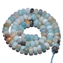 Load image into Gallery viewer, gem Natural Rondelle Multi color Amazonite Beads, Smooth Matte and Faceted Stone Beads,  Loose 4x6mm 5x8mm Jewelry beads, 15.5'' strand - RainbowShop for Craft