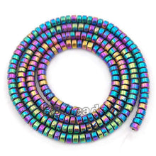 Load image into Gallery viewer, gem Natural Multicolor Hematite Smooth Rondelle Beads, Disk Stone Beads,  Spacer Loose Jewelry beads, 2mm 3mm 4mm 6mm 8mm 10mm 16'' str - RainbowShop for Craft