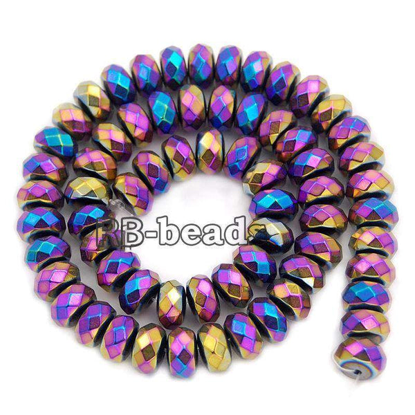gem Natural Faceted Multicolor Hematite Rondelle Beads, Disk Stone Beads,  Spacer Loose Jewelry beads, 2mm 3mm 4mm 6mm 8mm 10mm 16'' str