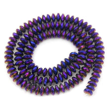 Load image into Gallery viewer, gem Natural Purple Hematite Faceted Smooth Rondelle Beads, Disk Stone Beads,  Spacer Loose Jewelry beads, 2mm 3mm 4mm 6mm 8mm 10mm 16'' - RainbowShop for Craft