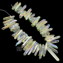 Load image into Gallery viewer, Natural polished Green AB Druzy Quartz spike Titanium Coated Stick beads, Gemstone Mystic Point Bluk Raw Stone  Beads 15.5 str - RainbowShop for Craft
