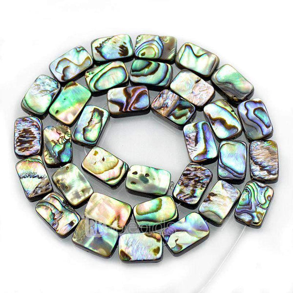 "Natural Abalone Paua Shell Rectangle beads, Gemstone Loose Beads, 8mm 10mm 12mm Stone Jewelry Beads, Semiprecious Beads,15"" strand"