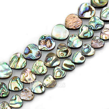 "Load image into Gallery viewer, Natural Abalone Paua Shell Heart beads, Gemstone Loose Beads,  12mm 14mm 16mm Stone Jewelry Beads, Semiprecious Beads,15"" strand - RainbowShop for Craft"