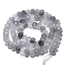 "Load image into Gallery viewer, gem semiprecious Natural Rondelle Cloudy Gray Quartz Beads, Smooth Matte and Faceted , Disk Stone Loose 4x6mm 5x8mm Jewelry beads, 15.5"" str - RainbowShop for Craft"