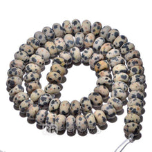 "Load image into Gallery viewer, gem semiprecious Natural Rondelle Dalmatian Jasper Beads, Smooth Matte and Faceted , Disk Stone Loose 4x6mm 5x8mm Jewelry beads, 15.5"" str - RainbowShop for Craft"