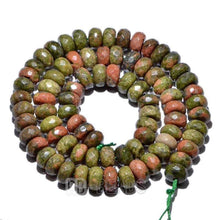 Load image into Gallery viewer, gem semiprecious Natural Rondelle Salmon Moss Unakite Jasper Beads, Smooth Matte and Faceted , Disk Stone Loose 4x6mm 5x8mm Jewelry beads - RainbowShop for Craft
