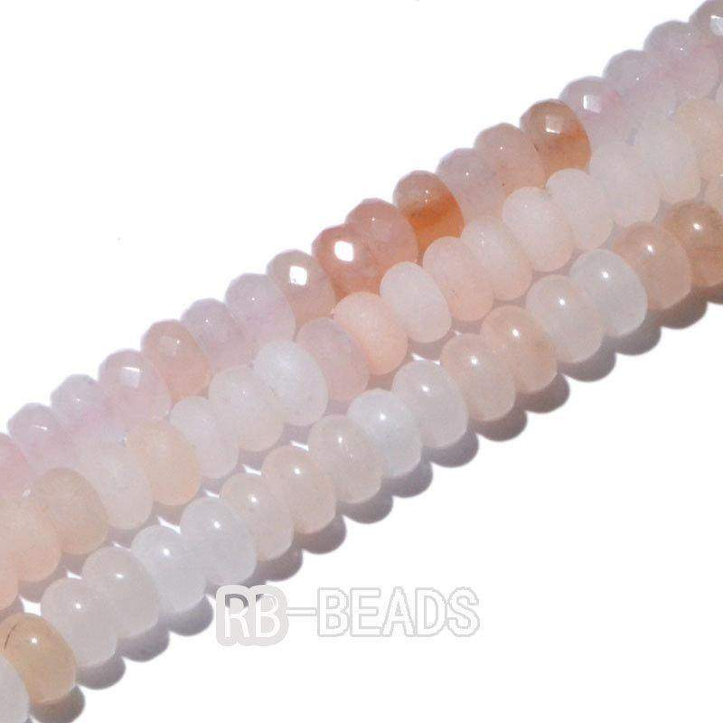 "gem semiprecious Natural Rondelle Pink Aventurine Beads, Smooth Matte and Faceted , Disk Stone Loose 4x6mm 5x8mm Jewelry beads, 15.5"" str - RainbowShop for Craft"