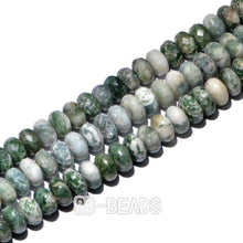 Load image into Gallery viewer, gem Natural Rondelle Disk Green Spot Jasper Beads, Smooth Matte and Faceted Stone Beads,  Loose 4x6mm 5x8mm Jewelry beads, 15.5'' strand - RainbowShop for Craft