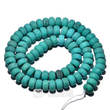 "Load image into Gallery viewer, semiprecious Natural Rondelle Blue Turquoise Blue, Smooth Matte , Disk Stone Loose 4x6mm 5x8mm Jewelry beads, 15.5"" str"