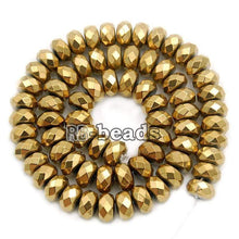 Load image into Gallery viewer, gem Natural Faceted Gold Hematite Rondelle Beads, Disk Stone Beads,  Spacer Loose Jewelry beads, 2mm 3mm 4mm 6mm 8mm 10mm 16'' strand - RainbowShop for Craft