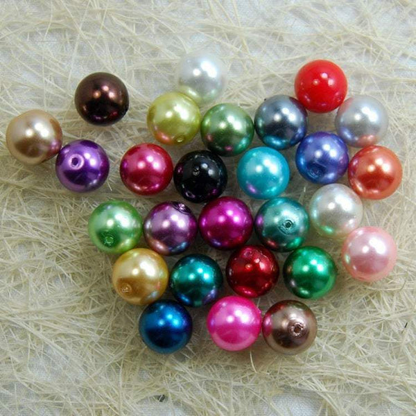 Mixed Czech Glass Pearl Round Beads, 100pcs for all size - 3mm 4mm 6mm 8mm 10mm 12mm 14mm, Opaqu loose beads For jewelry making and beading
