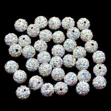 Load image into Gallery viewer, Clear AB Crystal Rhinestone Round Beads, 6mm 8mm 8mm 10mm 12mm Pave Clay Disco Ball Beads, Chunky Bubble Gum Beads, Gumball Acrylic Beads - RainbowShop for Craft