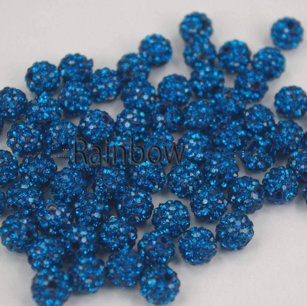 Capri Blue Crystal Rhinestone Round Beads, 6mm 8mm 8mm 10mm 12mm Pave Clay Disco Ball Beads, Chunky Bubble Gum Beads, Gumball Acrylic Beads - RainbowShop for Craft