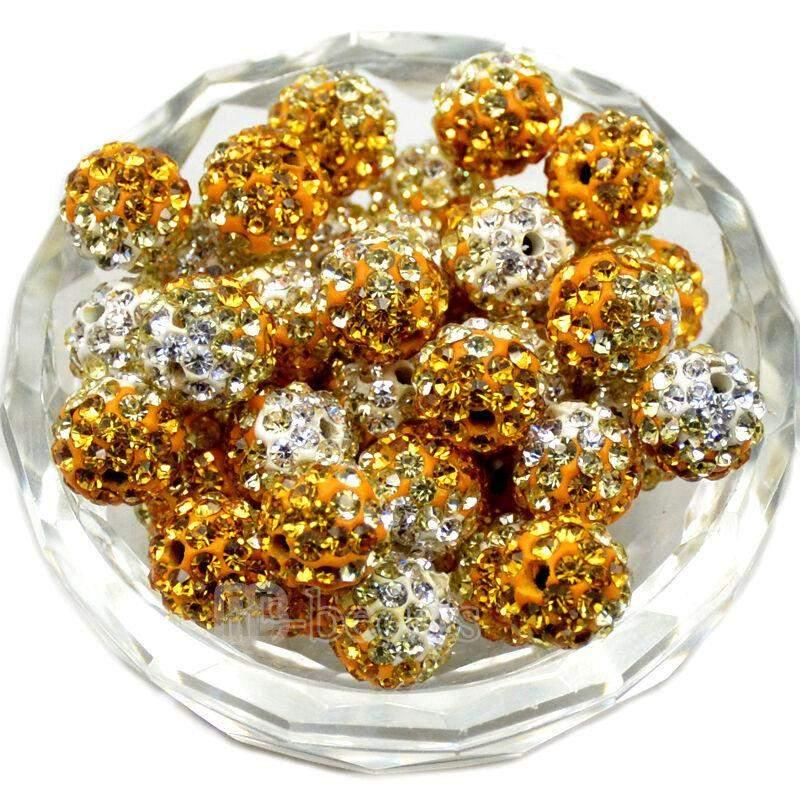 Topaz Clear Crystal Rhinestone Round Beads, 6mm 8mm 8mm 10mm 12mm Pave Clay Disco Ball Beads, Chunky Bubble Gum Beads, Gumball Acrylic Beads