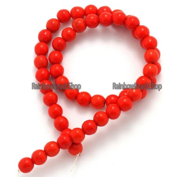 Orange Howlite Turquoise Round Loose Gemastone beads, 2mm 3mm 4mm 6mm 8mm 10mm 12mm Natural Stone Jewelry, Beading beads, 16'' strand