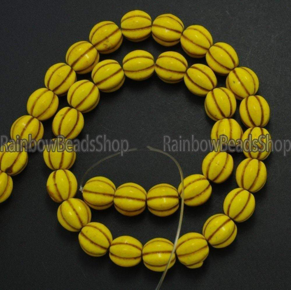 Yellow Howlite Turquoise Pumpkin Round Gemstone Loose beads, 10mm 12mm 14mm NAtural Jewelry Stone Beading Beads, 16'' strand - RainbowShop for Craft