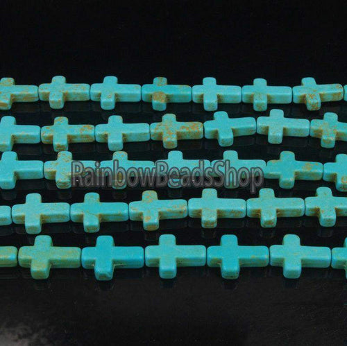 Blue Howlite Turquoise Cross Gemstone Jewelry Beading Beads, 12x16mm Natural Loose Stone beads, 16'' strand - RainbowShop for Craft