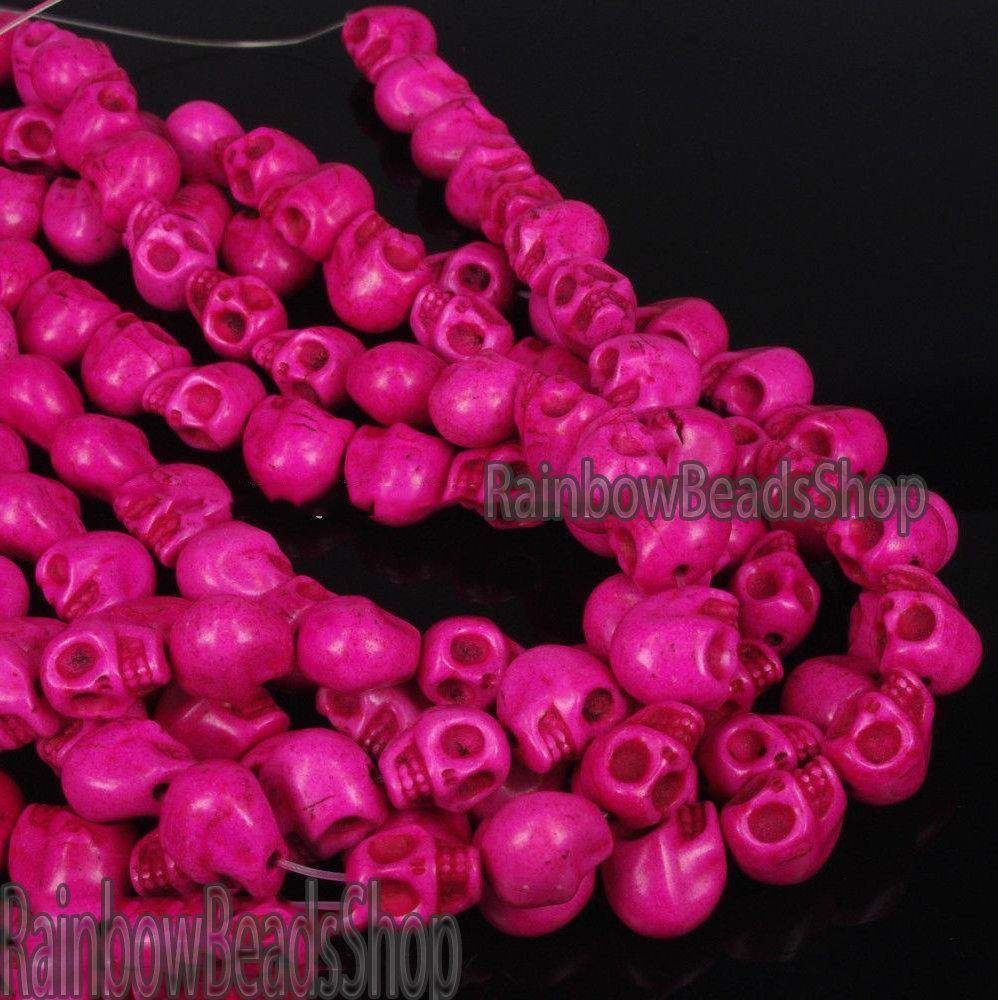 Pink Howlite Turquoise Skull Side Ways Gemstone Loose Beads, 12x13mm Natural Carved Stone Jewelry Beading Beads, 16'' strand - RainbowShop for Craft