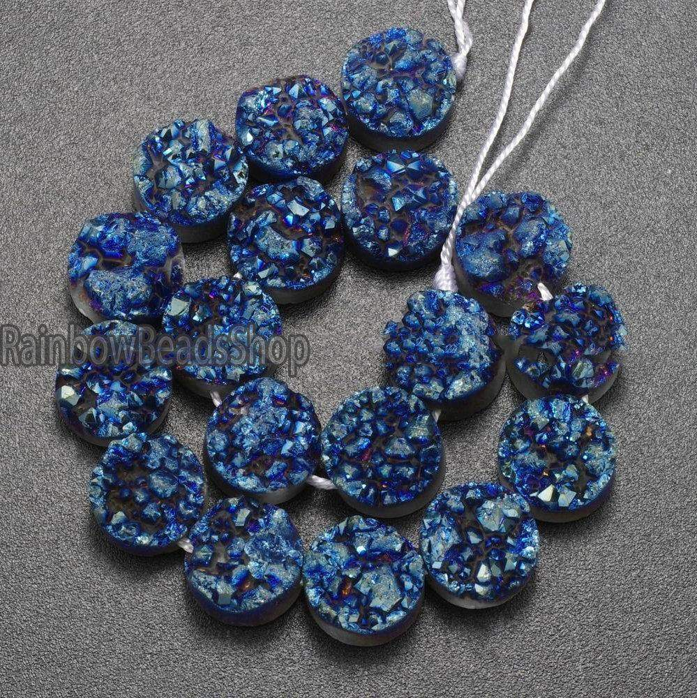 Blue Druzy Quartz Agate Gemstone jewelry Beading Side Drilled Flat Back Connector Cabochon 10mm Beads - RainbowShop for Craft