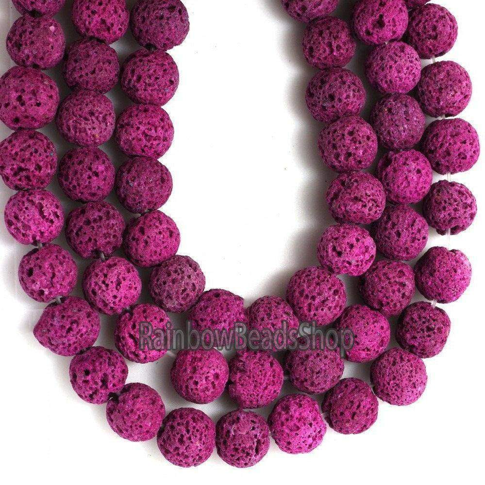 Fuchsia Lava Beads Volcanic Gemstone Round Jewelry Beading Stone, 8mm 10mm 12mm Loose Spacer Beads, 15.5'' strand - RainbowShop for Craft