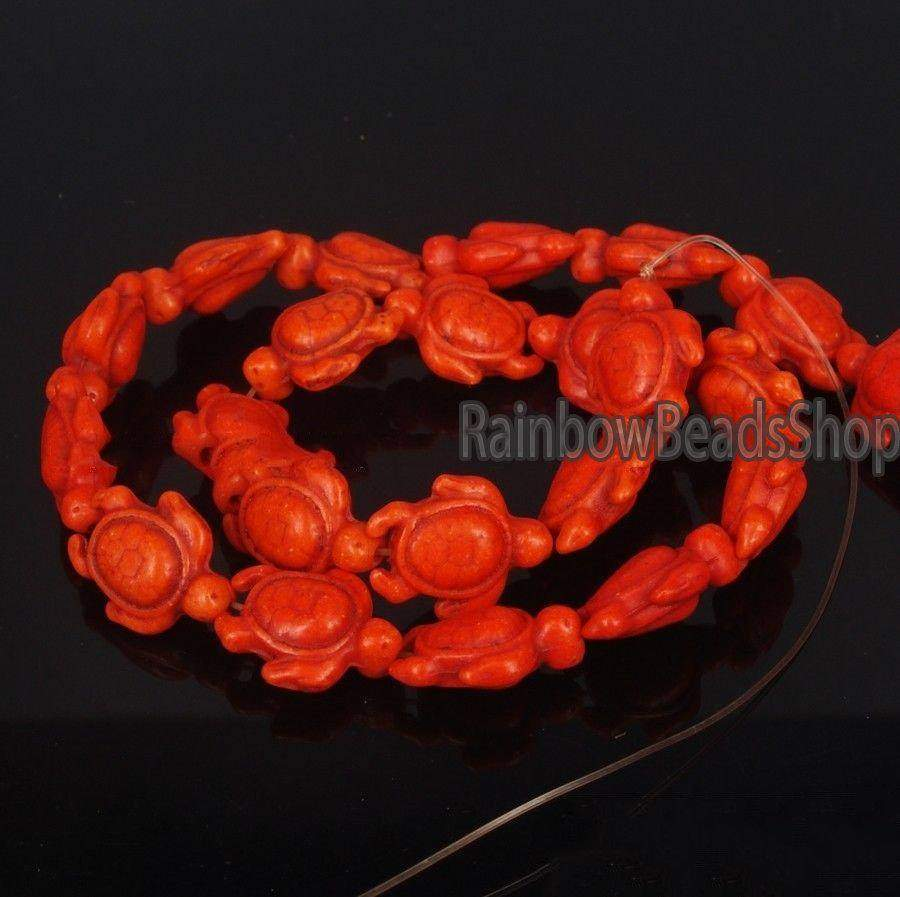 Orange Howlite Turquoise Carved Turtle Gemstone beads, 14x17mm Jewelry Beading Natural Stone beads, 16'' strand - RainbowShop for Craft