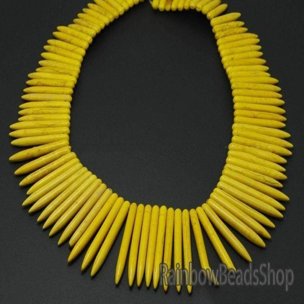 Yellow Howlite Turquoise Stick Spike Choker Stone Loose Beads, 20x48mm Natural Gemstone Jewelry Beading Beads, 16'' strand - RainbowShop for Craft
