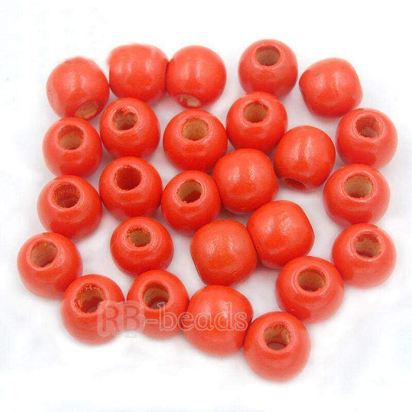 Orange Wooden natural loose spacer round beads, 4-16mm