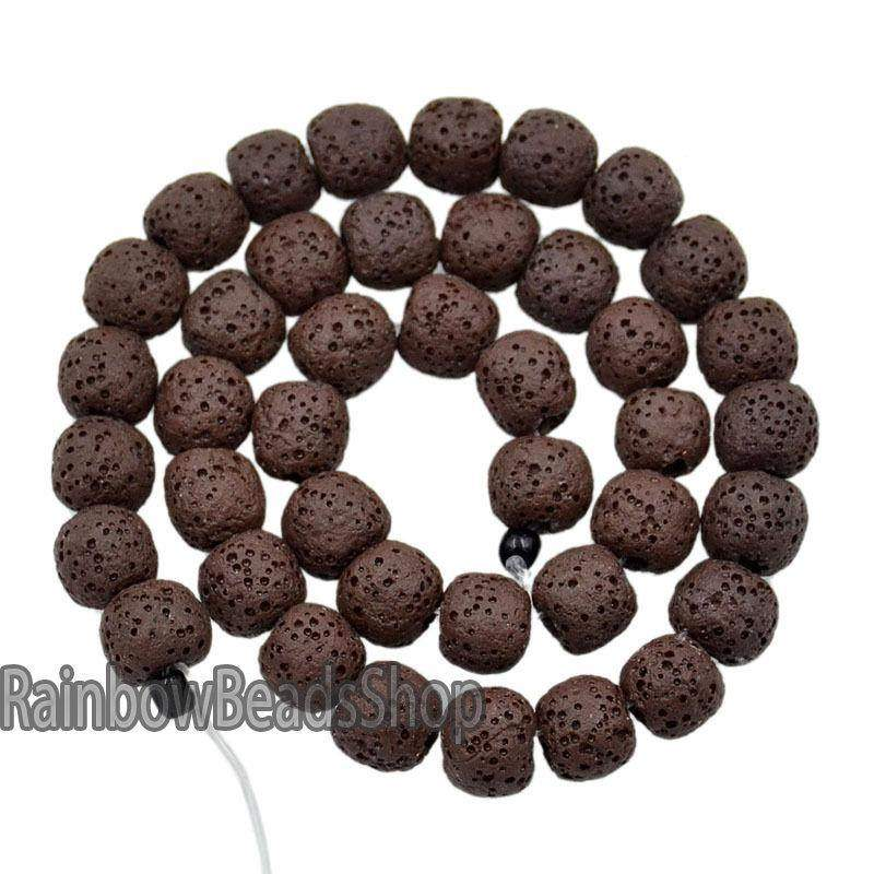 Brown Lava Volcanic Beads, Gemstone Natural Smooth Jewelry Round Stone, 8mm 10mm 12mm Spacer Loose Beading Beads, 15.5'' strand - RainbowShop for Craft