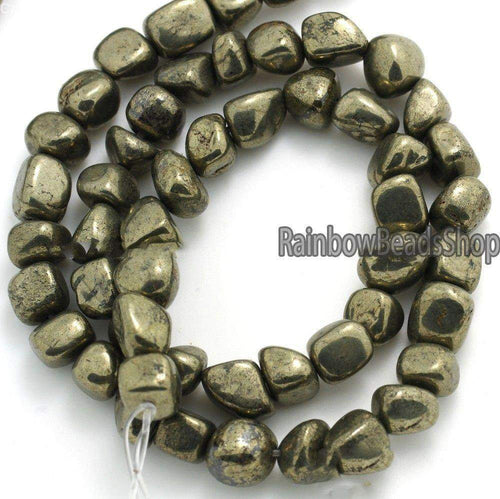 Iron pyrite freeformed nugget stone natural beads, 3x5mm 4x6mm 8x10mm 10x12mm loose spacer jewelry gemstone bead, 15.5'' strand - RainbowShop for Craft