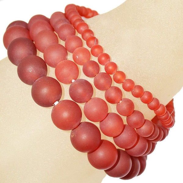 Matte Red round agate gemstone bracelet, crystal healing beaded bracelet for women, men, unisex, mala Yoga Jewelry 6mm 8mm 10mm 12mm