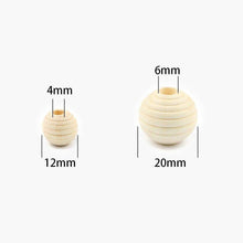 Load image into Gallery viewer, Unfinished beehive wood beads, Thread wooden large hole Spacer Eco-Friendly Natural Color Woods Bead Lead-Free Ball DIY 30PCS 12mm, 20mm